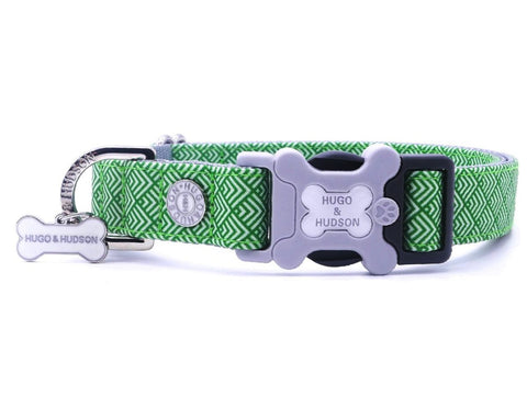 Hugo&Hudson Green Geometric Dog Collar
