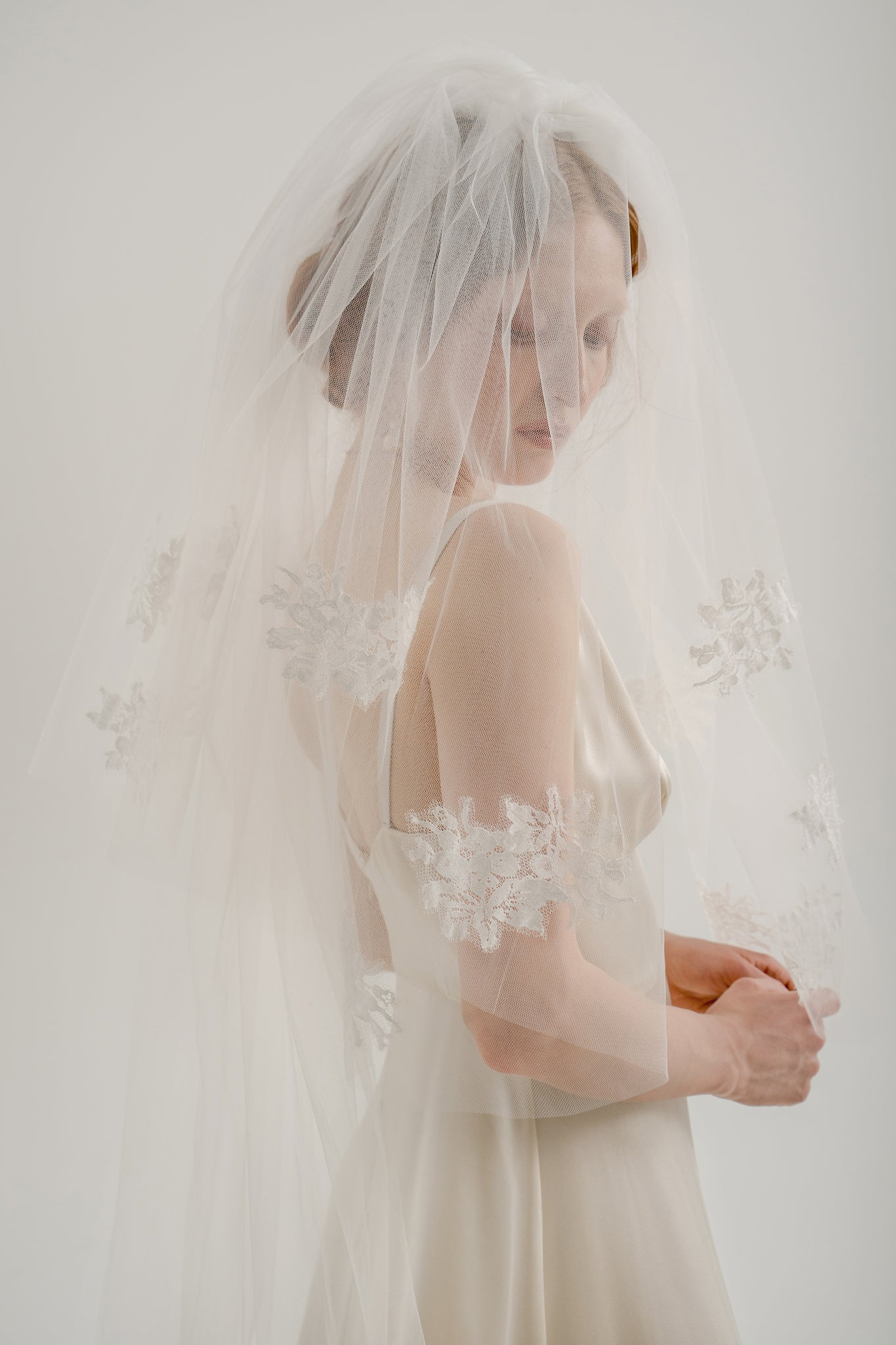Jina Two-Tier Veil with Embroidery