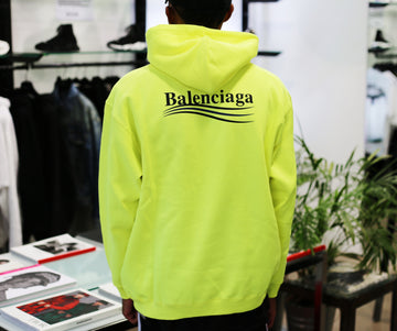 BALENCIAGA - Political Fluo Yellow Medium Fit Hoodie