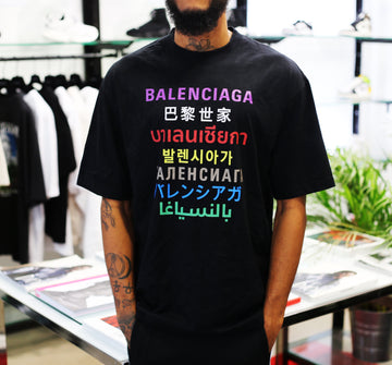 BALENCIAGA - Languages Medium Fit T-shirt BLACK