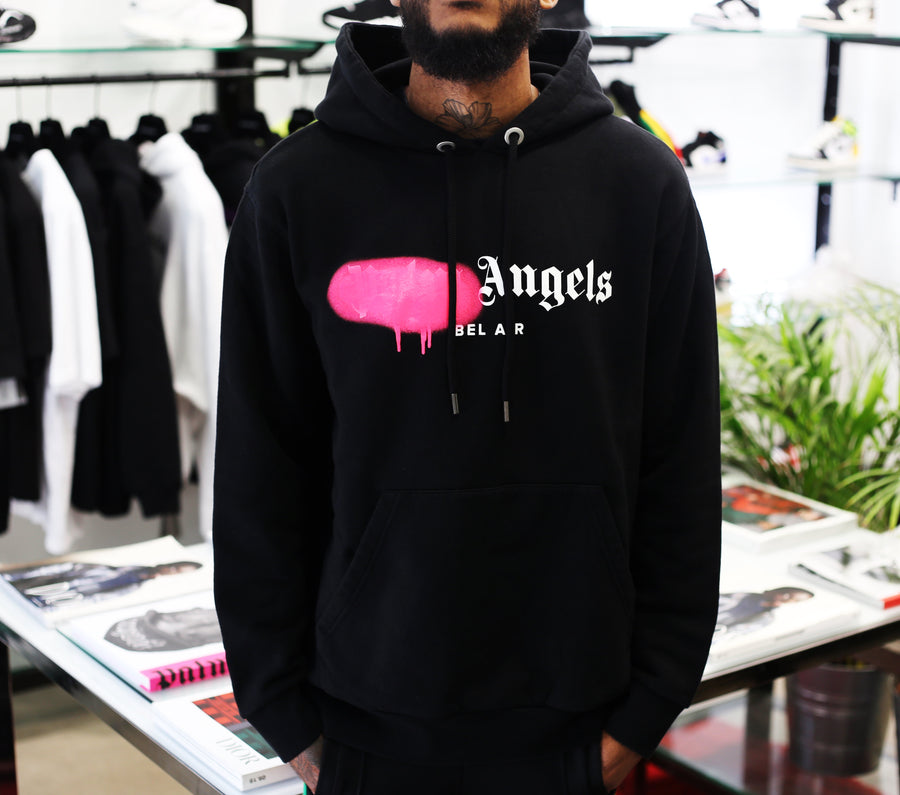 PALM ANGELS - Bel Air Sprayed Hoody Black Fuchsia