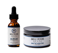 3PETE 647 Face and Beard Oil plus Double Duty Soldier Face Scrub