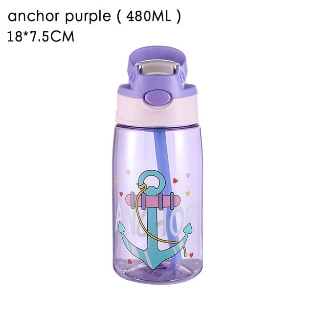 Animal Pattern Kids Sippy Cup Transparent Straw Water Cup Leakproof