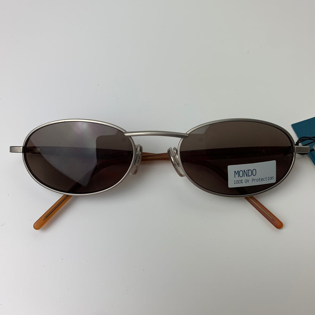 Chic Silver and Tan 90s Sunglasses