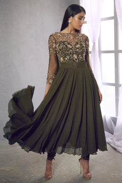 Olive green anarkali with embroidered floral motifs & attached cowl. Paired with net leggings.