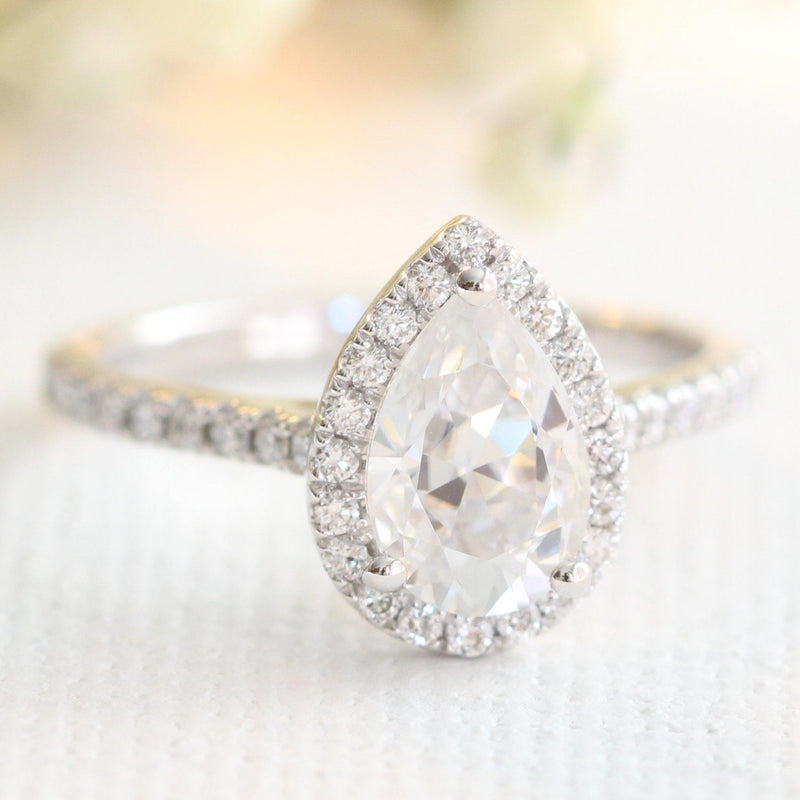 1.8ct Oval Halo Moissanite Engagement Ring in Pave White Gold Band - Buy Diamonds Rings at Best Price Online | Touche Doree