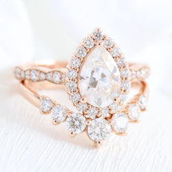 1.5ct Pear Shaped Moissanite Halo Bridal Set - Buy Diamonds Rings at Best Price Online | Touche Doree