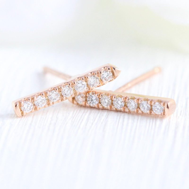 Curved Chevron Diamond Earrings in Rose Gold Studs - Buy Diamonds Rings at Best Price Online | Touche Doree