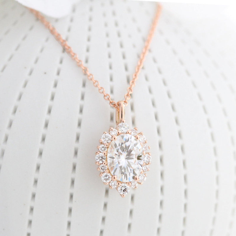 Halo Diamond Oval Moissanite Pendant Rose Gold Drop Necklace - Buy Diamonds Rings at Best Price Online | Touche Doree