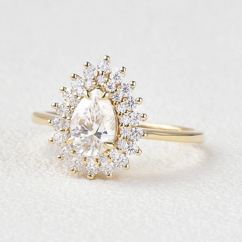Stacking Moissanite Yellow Gold Halo Ring - Buy Diamonds Rings at Best Price Online | Touche Doree