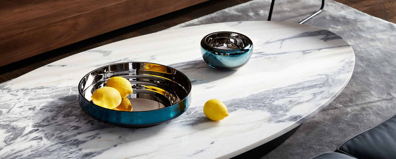 Teal mirror glass bowl and round blue glass bowl. Luxury glassware