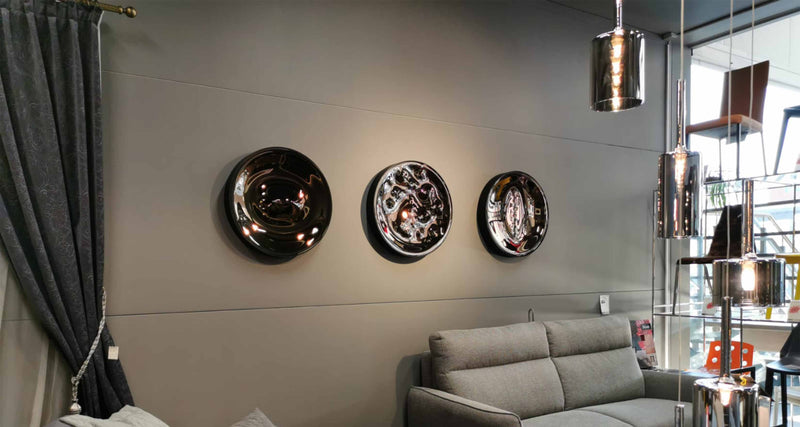 Unique wall decor. Glass and metal dish.
