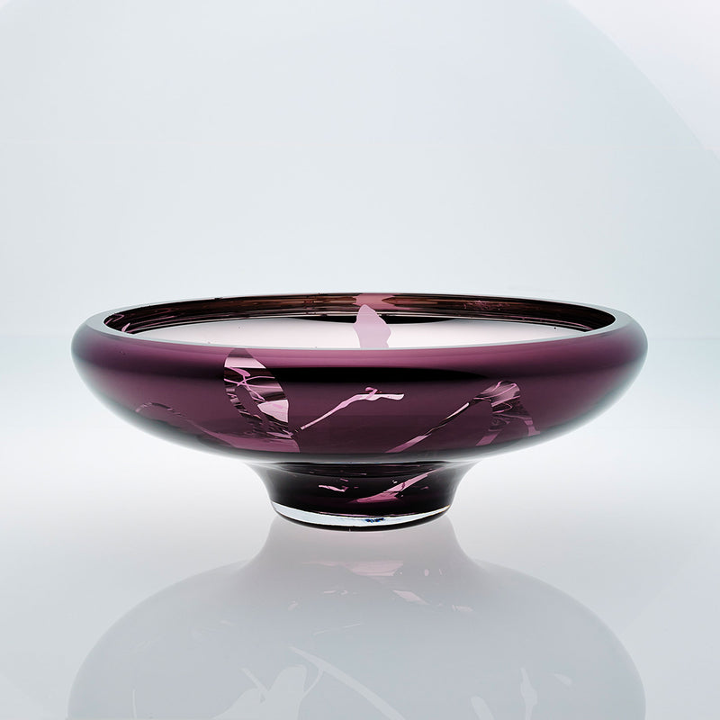 Purple glass bowl with splatter effect on a connected stand. Designer glass bowl with metal coating. Mirror effect glass bowl.