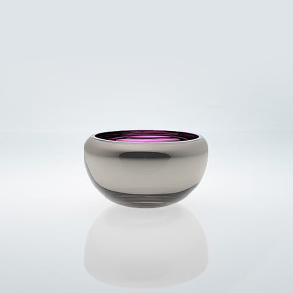 Small purple round glass bowl with exterior metal coating. Mirror glass effect bowl.