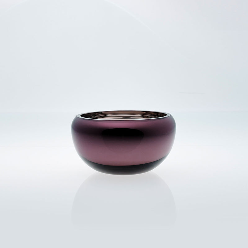 Small purple round glass bowl with interior metal coating. Mirror glass effect bowl.