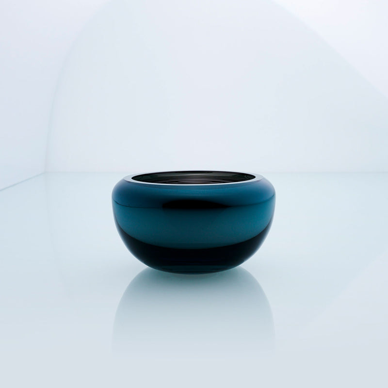 Small teal blue round glass bowl with interior metal coating. Mirror glass effect bowl.