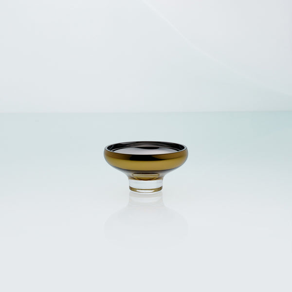 Amber glass mirror bowl with metal coating. Design dessert dish.