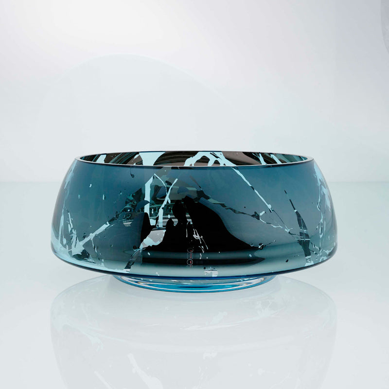 Teal blue glass round bowl with high tops and splashes. Designer glass bowl with metal coating. Mirror effect glass bowl.