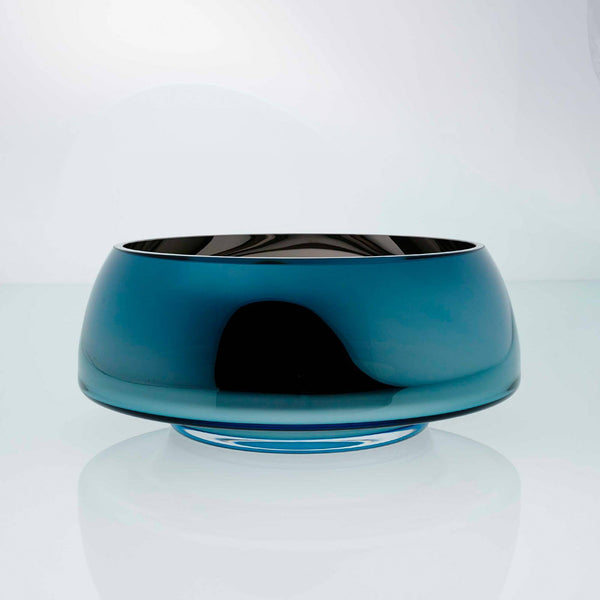Teal blue glass round glass bowl with high tops. Designer glass bowl with metal coating. Mirror effect glass bowl.