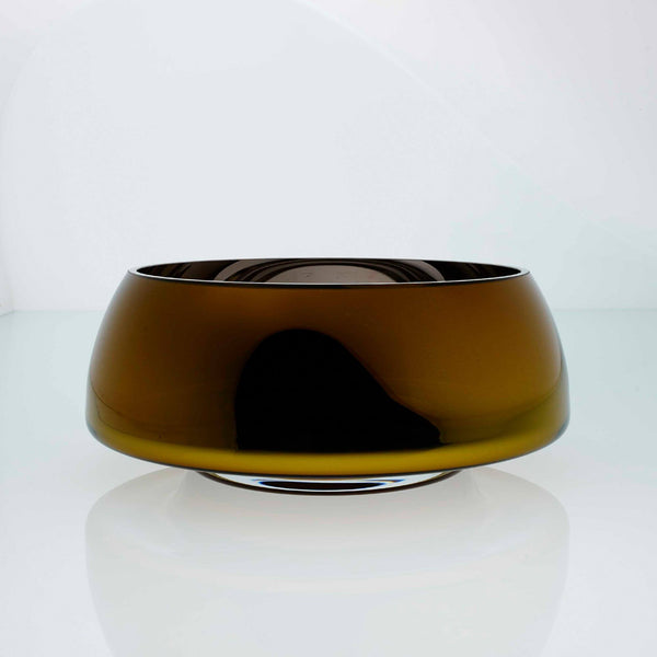 Amber glass round glass bowl with high tops. Designer glass bowl with metal coating. Mirror effect glass bowl.