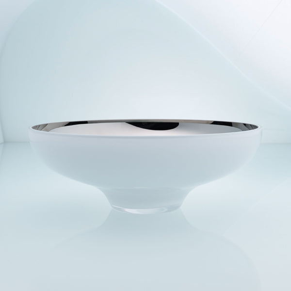 Round white glass fruit bowl on a stand with interior stainless steel coating. Mirror effect design glass bowl.