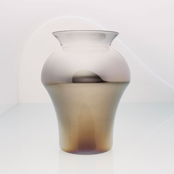 Very large glass and titanium vase in white and golden ombre. Design flower vase. Unique vase.