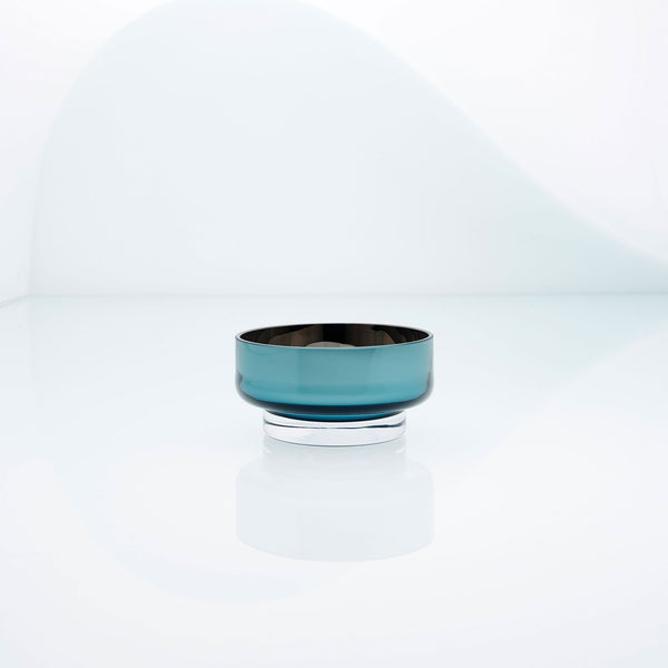 Mini, flat disk glass dessert or snack bowl in teal with metal interior coating. Designer hand made glass bowl.