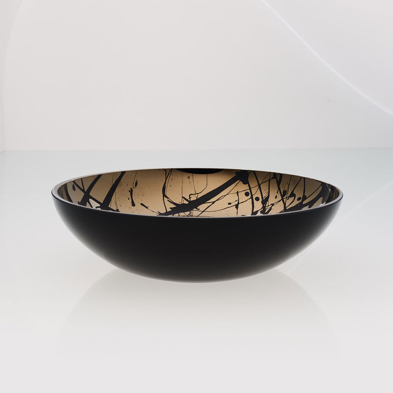 Round black glass fruit bowl with interior titanium coating and splashes. Mirror effect design glass bowl.