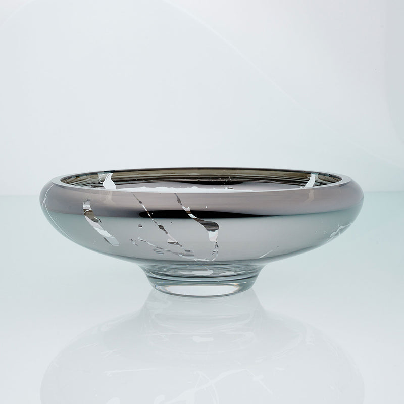 Grey glass bowl with splatter effect on a connected stand. Designer glass bowl with metal coating. Mirror effect glass bowl.