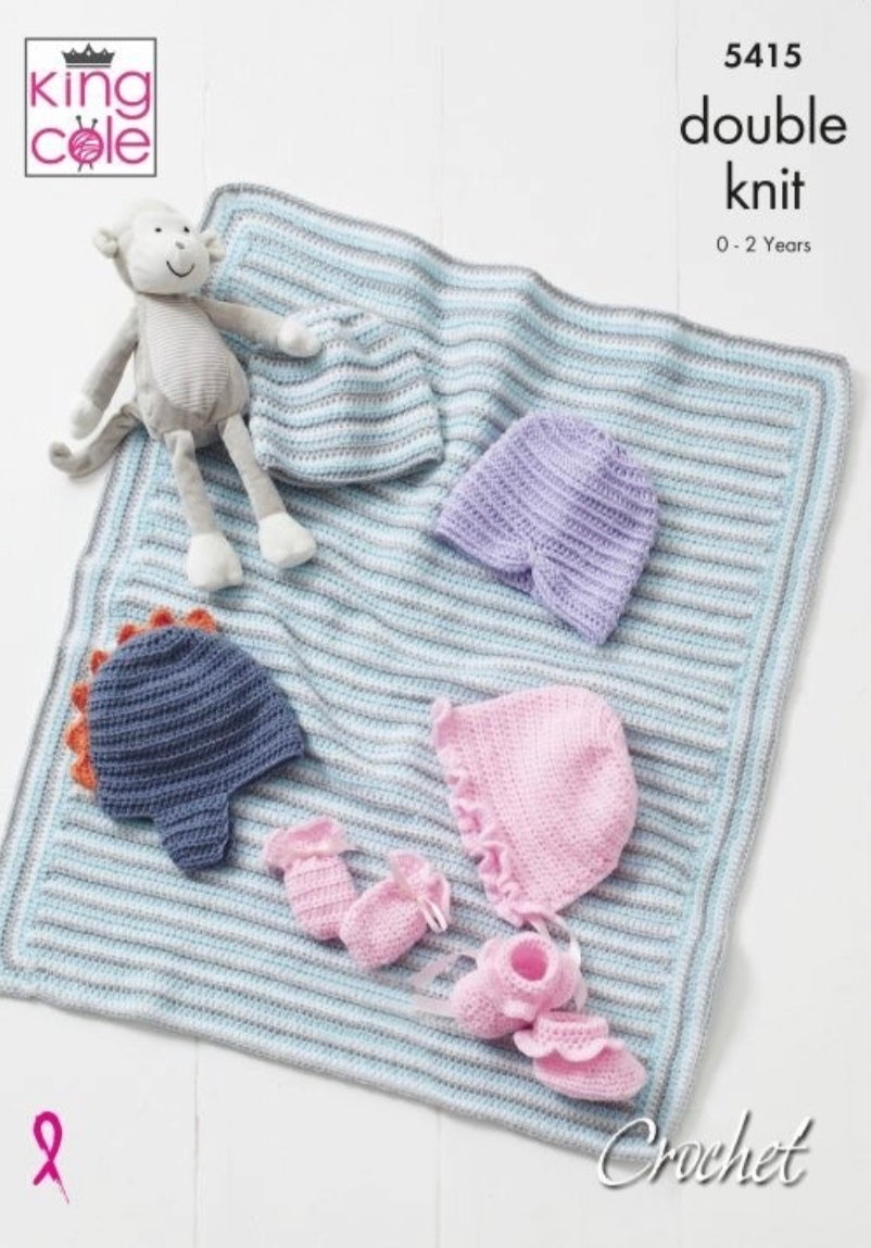 King Cole 5415 Crochet Baby Hat, Mitts, Booties and Blanket in Big Value Baby DK