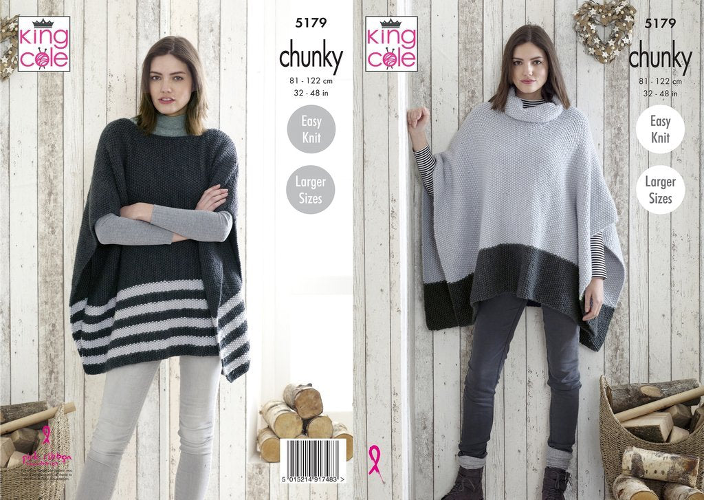 King Cole 5179 Ladies Ponchos in Timeless Chunky
