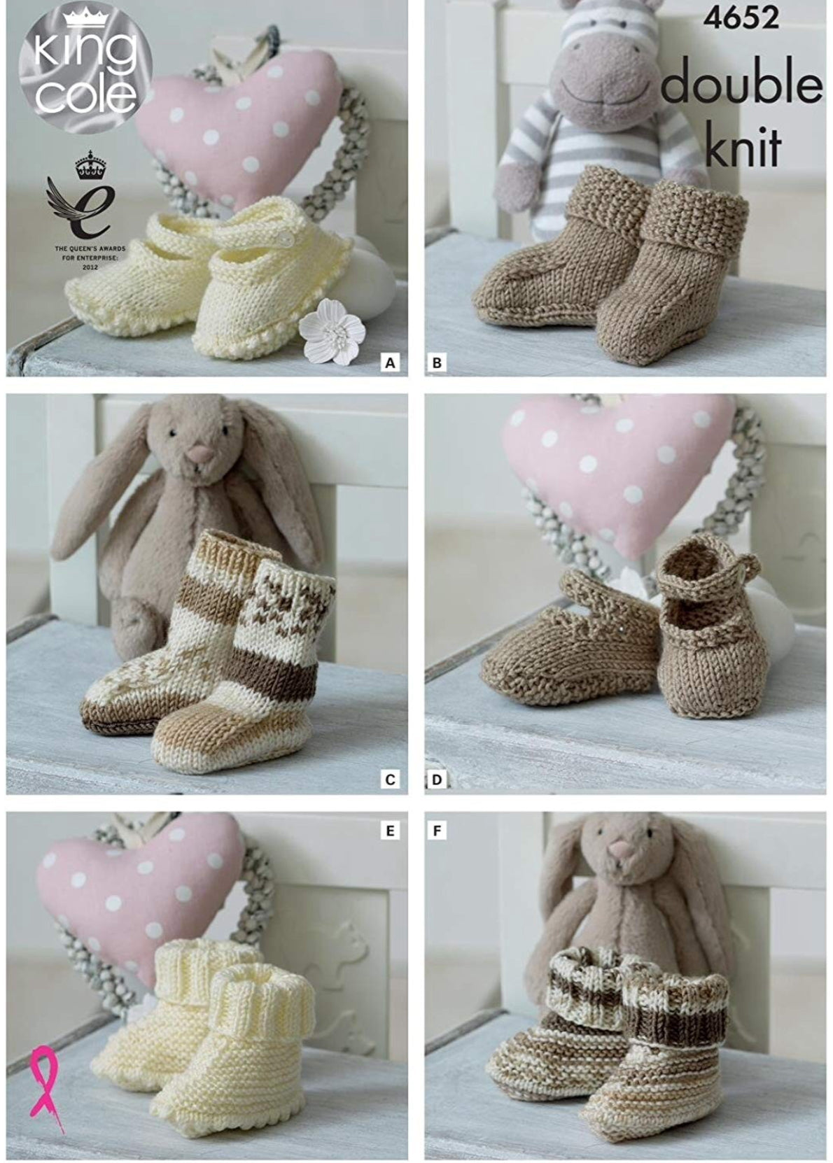 King Cole 4652 Baby Socks, Booties and Shoes in Cherish and Cherished DK