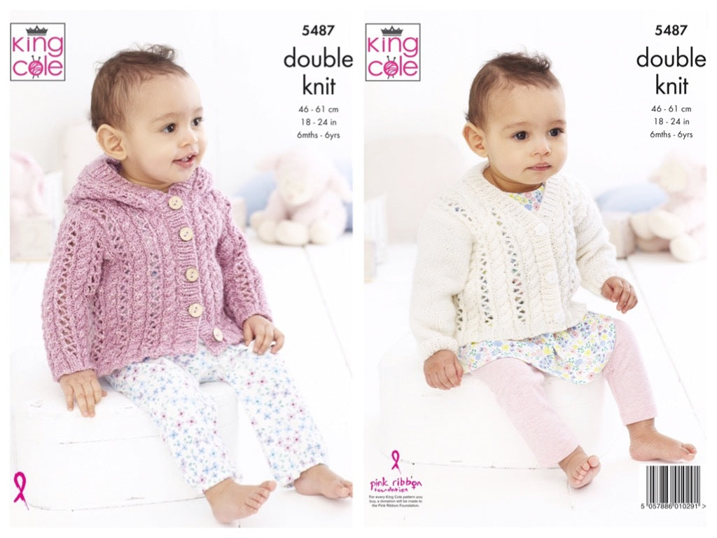 King Cole 5487 Jacket and Cardigan in Cotton Top DK