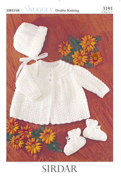 Sirdar 3191 Matinee coat, hat and booties in Snuggly DK