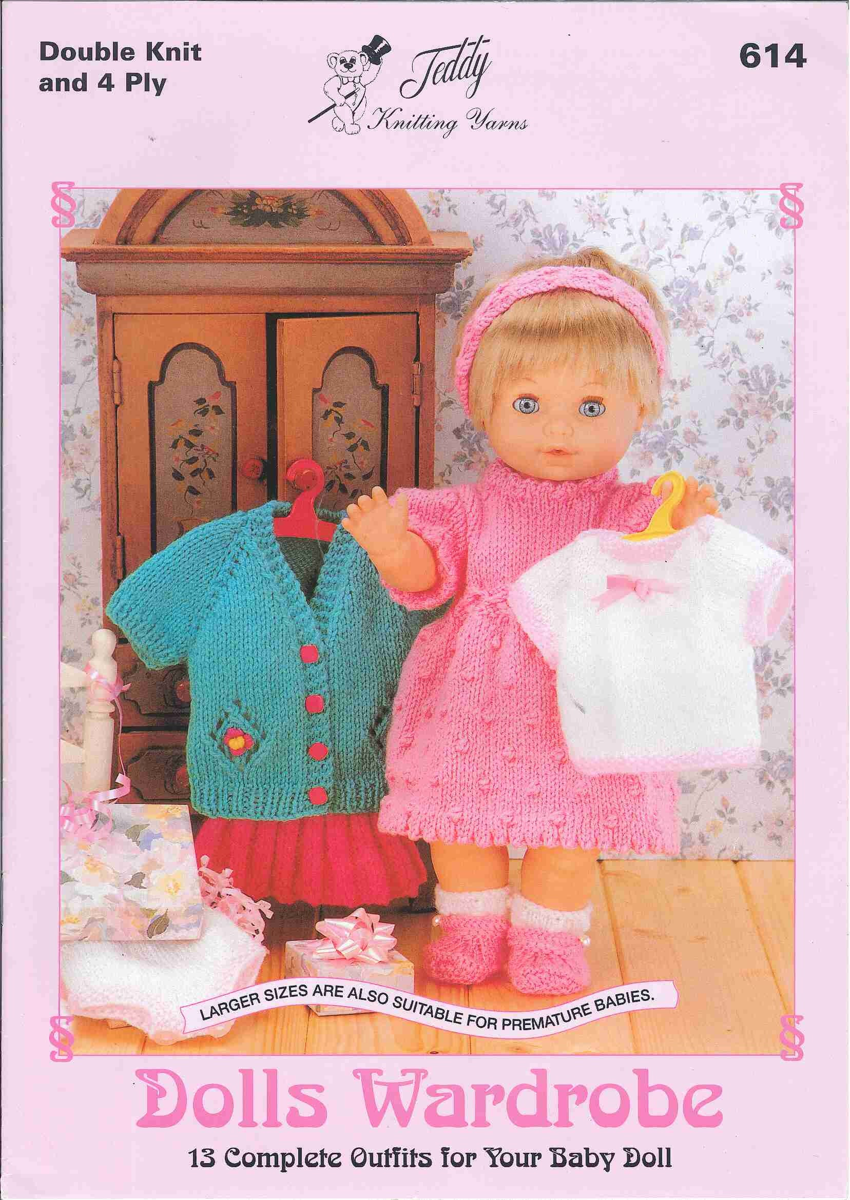Teddy Knitting Pattern Book - Dolls Wardrobe - Complete Outfits for Baby Dolls