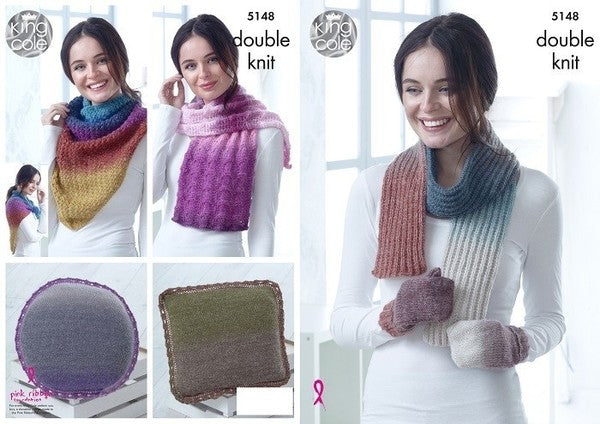 King Cole Pattern #5148 Mittens, Scarf, Square & Round Cushions, Lace Wrap & Triangular Wrap Knitted in Curiosity DK