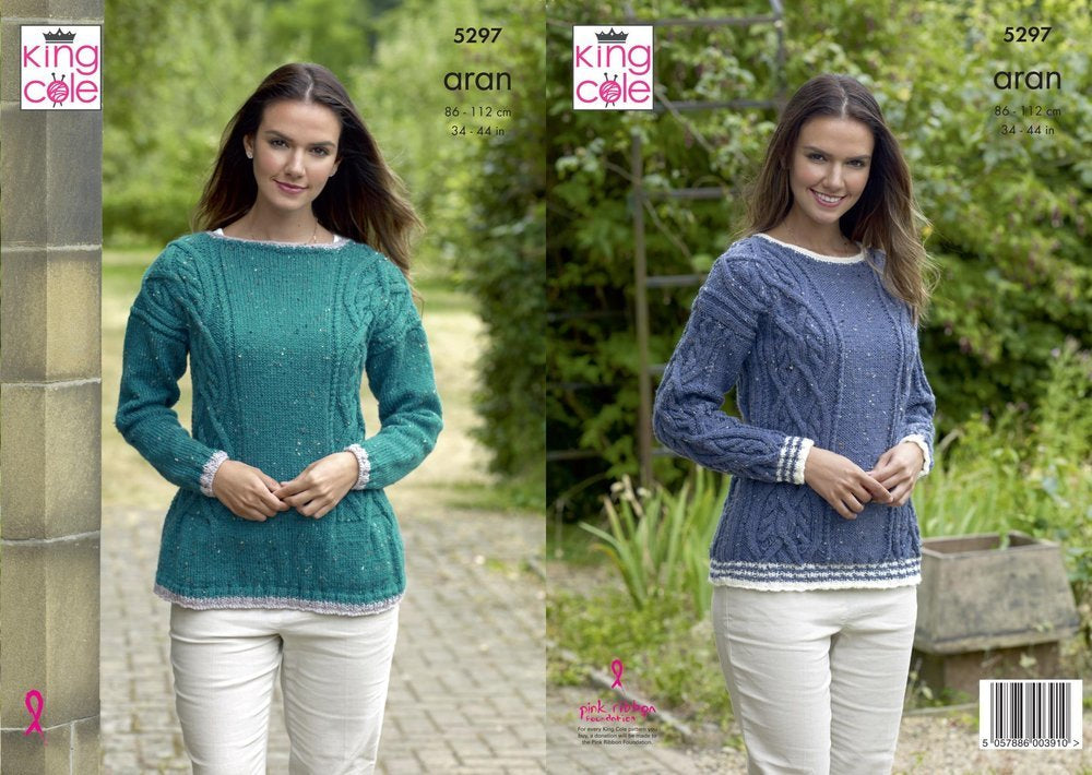 King Cole 5297 Knitting Pattern Womens Cable Sweaters in aran