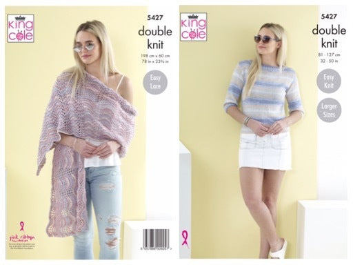 King Cole 5427 Ladies Sweater and Shawl in Beaches DK