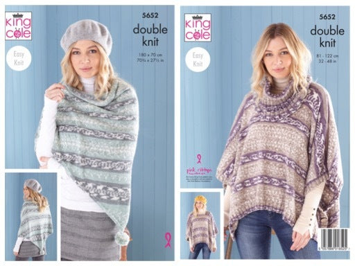 King Cole 5652 Ladies Poncho, Snood and Shawl in Fjord DK