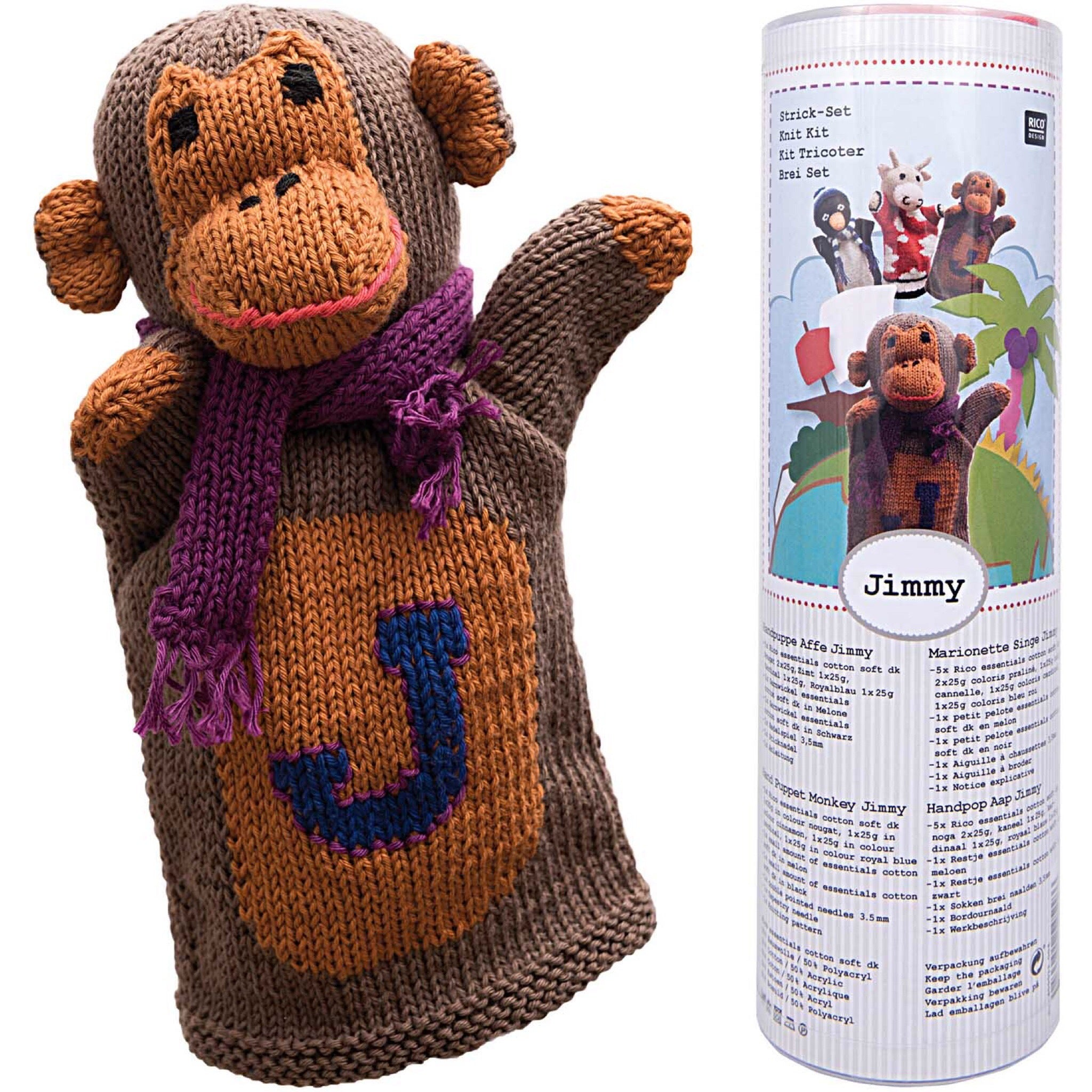 Jimmy Knitted hand puppet kit by Rico Design