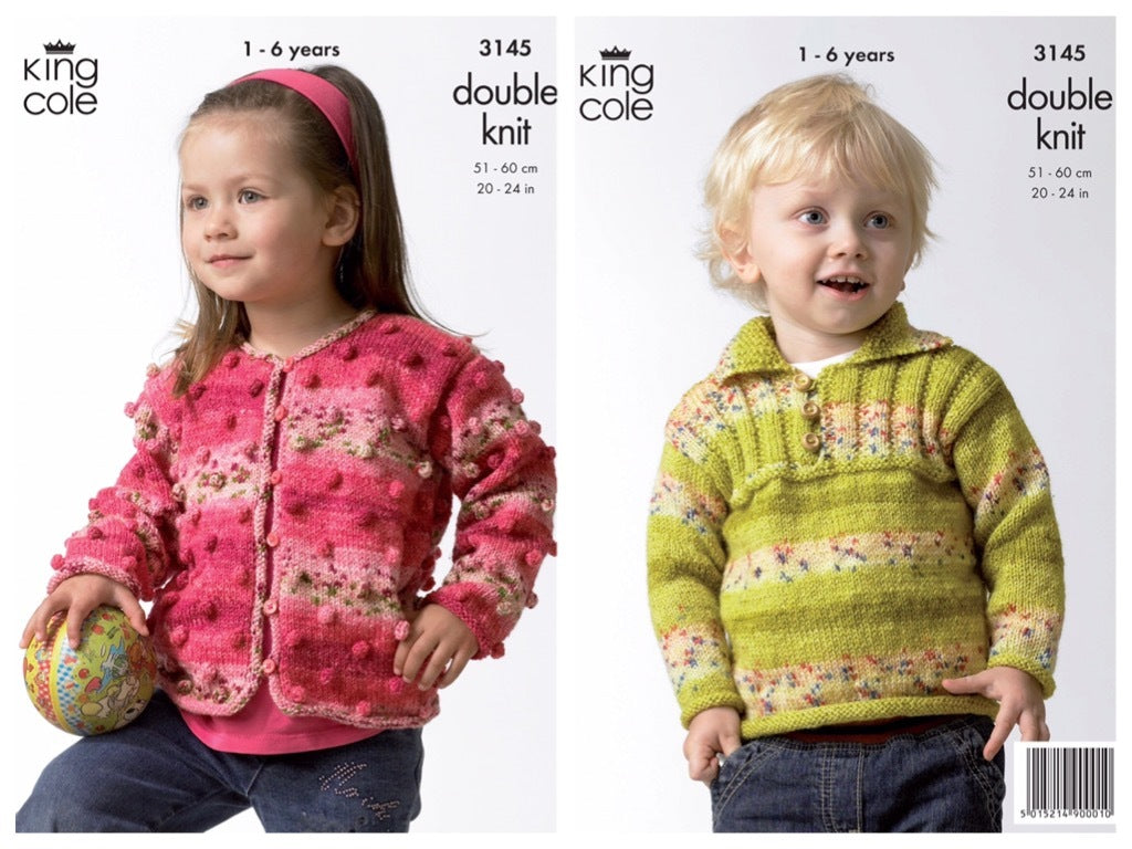 King Cole 3145 Childs Sweater and Cardigan in Splash DK