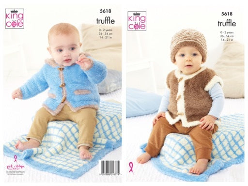 King Cole 5618 Pram Blanket, Jacket, Gilet and Hat in Truffle