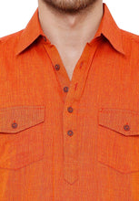 Load image into Gallery viewer, Cotton Handloom Orange Solid Knee Length Pathani Kurta (BAALI-194)