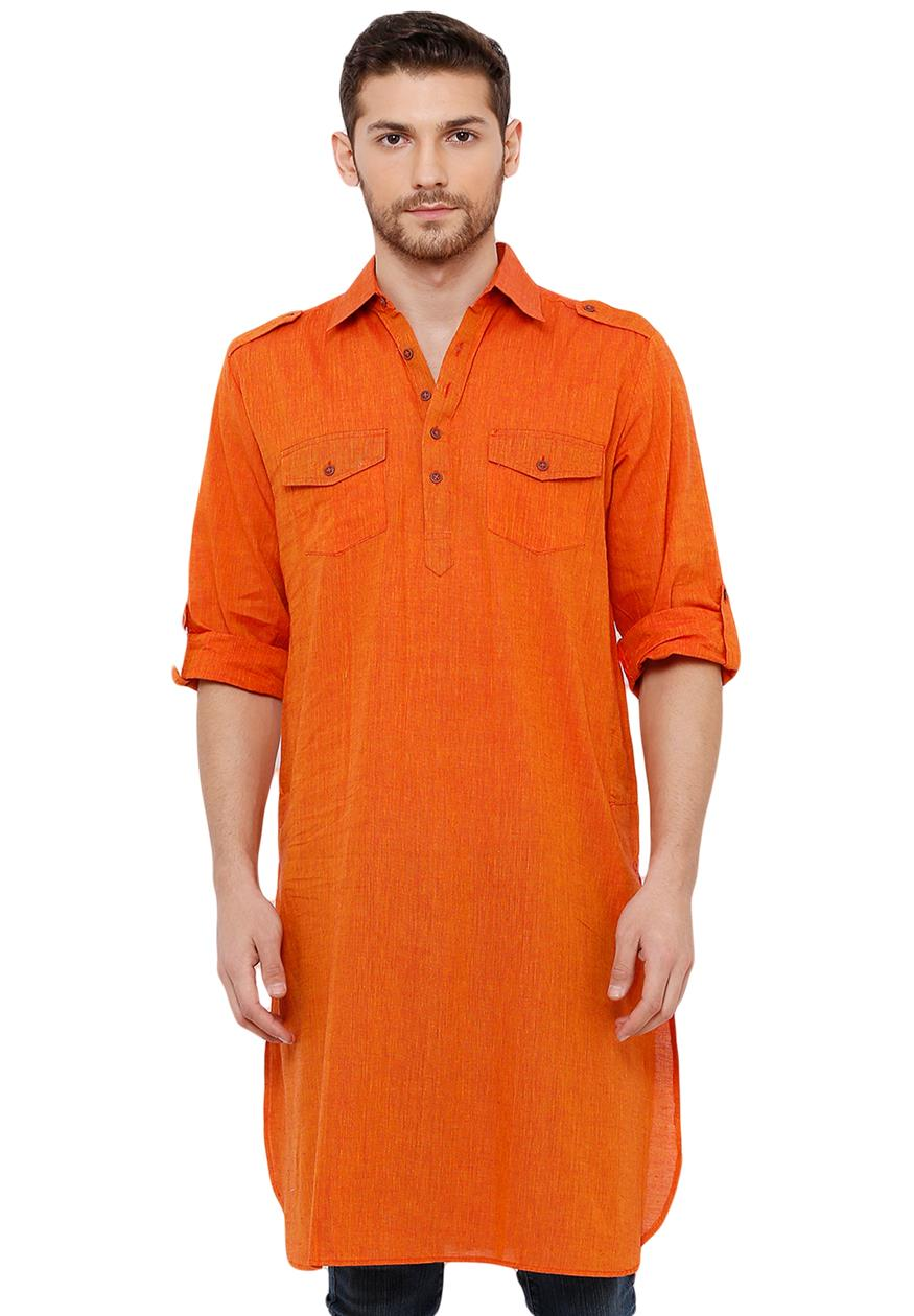 Cotton Handloom Orange Solid Knee Length Pathani Kurta (BAALI-194)