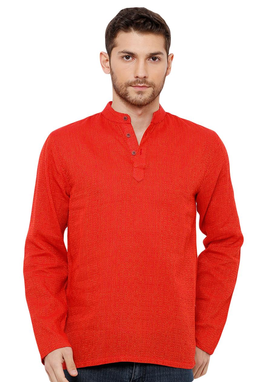 Cotton Handloom Orange Self Textured Short Length Kurta (BAALI-197)