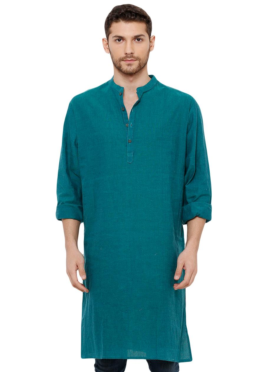 Cotton Handloom Peacock Green Self Textured Knee Length Kurta (BAALI-208)