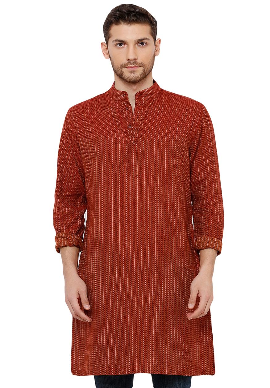 Cotton Handloom Brown Self Textured Knee Length Kurta (BAALI-216)