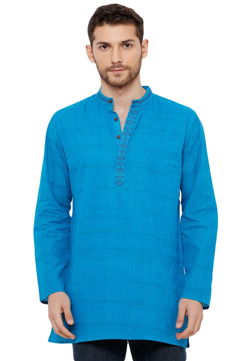 Cotton Handloom Blue Self Textured Short Length Kurta (BAALI-223)