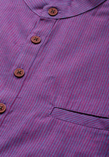 Load image into Gallery viewer, Cotton Handloom Purple Striped Short Length Kurta (BAALI-241)