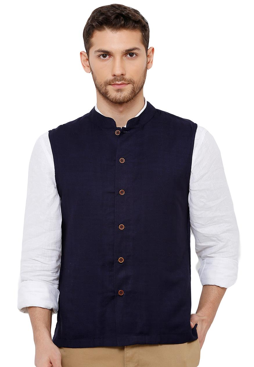 Cotton Self weaving Navy Blue Colour sleeveless Nehru Jackets (BAALI-J-017)